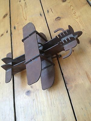 Antique/Vintage Collectable 1930-40's Folk/Trench Art. Hand Made Steel Airplane
