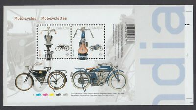 xca. MOTORCYCLES 1914 INDIAN & 1908 CCM S/S pos.8 fr UnCut sheet CAN 2013 #2646i