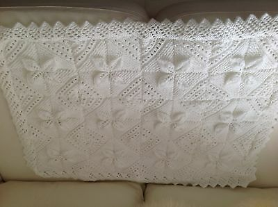 Lace Edged Pram Blanket Hand knitted In White Baby DK.