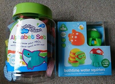 ELC bathtime water squirters, bathtime wet stick and play alphabet set, both new