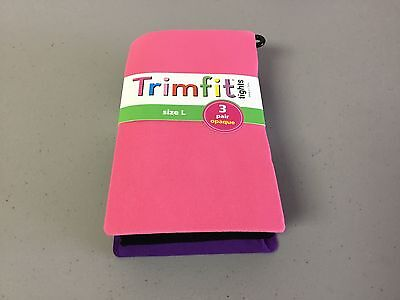 NWT Girl's Trimfit Opaque Tights Size Large 10-14 Multi 3 Pair #183R
