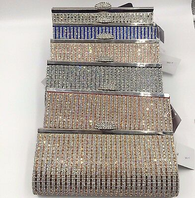 Stunning Sparkle Diamante Clutch Bag Wedding Bridal Evening Handbag Purse