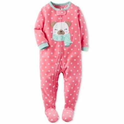 Carter's One Piece Dot-Print Dog Footed Pajamas Baby Girls, Pink Size 18 months