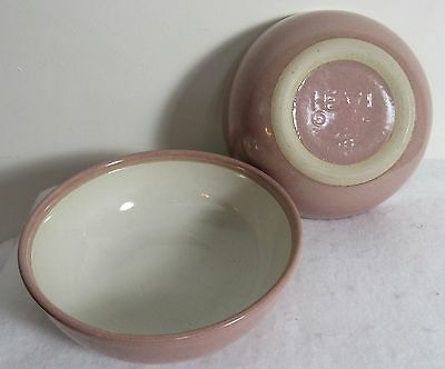 "2 Heath Ceramics Heath Rose 6 1/2"" Cereal Bowls Pink With White Inside"
