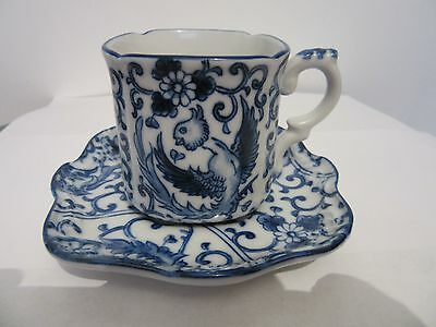 Gorgeous Chinese Tea Cup And Saucer Both Marked Fine Porcelain With Phoenix Bird