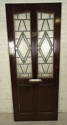 Tall Antique Vintage Stained Glass Art Door (05287)NS