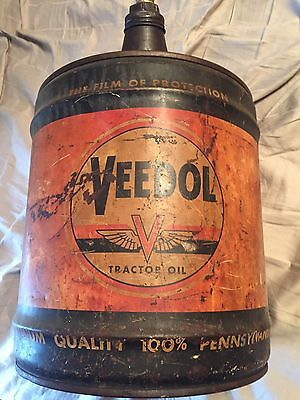 Veedol Tractor Oil 5- Gallon Oil Can The 150 Hour Tractor Oil 306 B