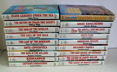Lot of 18 GREAT ILLUSTRATED CLASSICS Action/Adventure Hardcover Children's Books