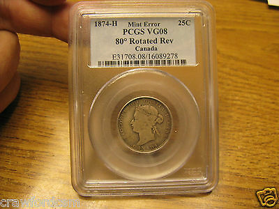 Canada 1874 H 25 Cent MINT ERROR PCGS Certified Rotated Die
