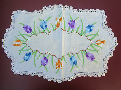 "Bold, Bright & Beautiful ""Tulips"" Hand Embroidered Doily with Crochet Edge"