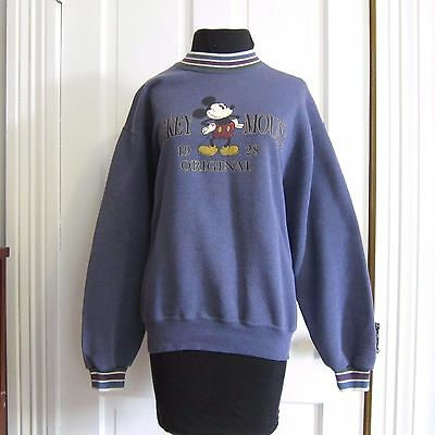 Vintage 90's Mickey Mouse Sweatshirt Genus Size Medium M USA Made Blue Disney