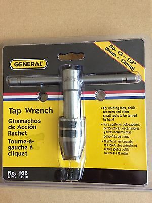 GENERAL 166 T Handle Tap Wrench, Sliding, No.12 to 1/2 Inch, NEW