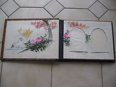 Antique Photo Album Mother of Pearl Inlay Chinese / Japanese Illustration