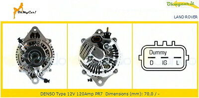 ALTERNATORE (12V - 120 AH) LAND ROVER DEFENDER 2.5 Td5 4x4 90 KW 122 CV 06/98 -