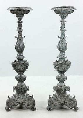 "Pair Of 19th Century Bronze Renaissance Revival Torchieres Stands 45"" Torchiere"