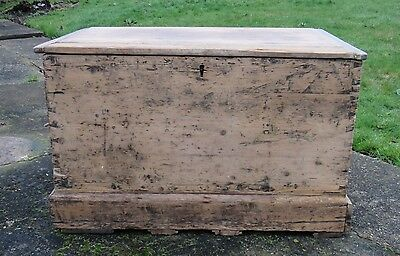 A Large Antique Travelling or Seaman's Chest, Very Rustic and Full of Character.