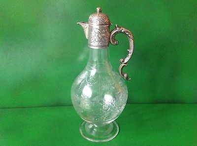 Beautiful Victorian Antique English Sterling Silver Claret Jug 1891