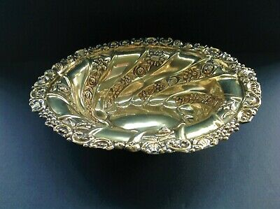 William Comyns Victorian Antique English Sterling Silver Gilded Bowl 1889
