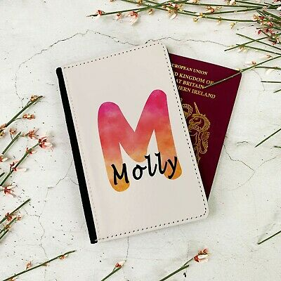 Personalised Orange/Red Watercolour Initial Travel Passport Wallet Case Cover