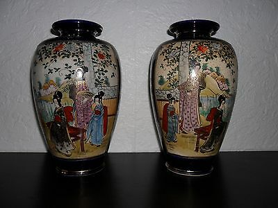 Matching Pair of Antique Satsuma Japanese Vases