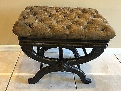 Antique Ebonized Adjustable X Piano Stool w/ Gold Accents & Button Tufted Top