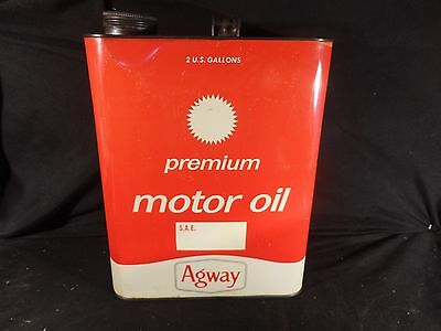 Vintage 2 Gallon Red Agway Motor Oil Can Gasoline