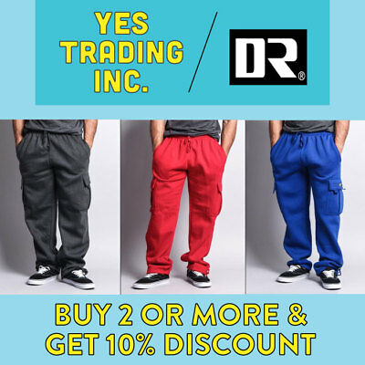 Mens Fleece Cargo Pocket Sweat Pants With Drawstring Hip Hop Casual Harem