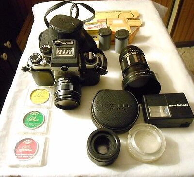 Vintage Honeywell Pentax H 1 A Camera With Attachments And Supplies