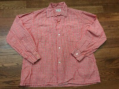 Vintage 50's/ 60's Crystal Checks By Enro Loop Collar Shirt - Large