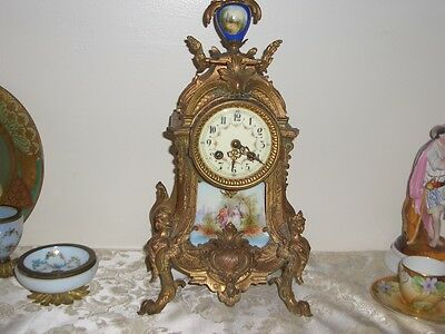 Antique French Gilt Clock Sevres Style Face & Plaque Figural Feet L Marti 1889