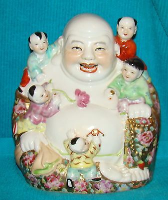 Chinese Porcelain Buddha W/Children Statue Figurine 9 inches