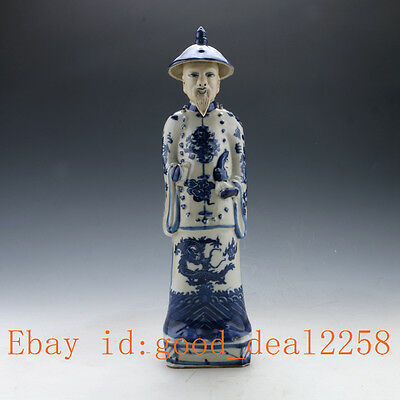 Chinese Blue and White Handwork Character Statue