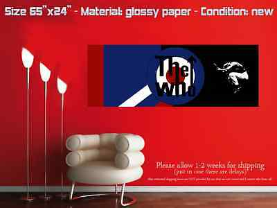 """HUGE 65""""x24"""" THE WHO glossy wall art poster band blue target"""