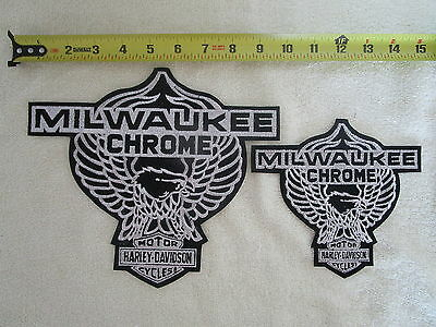 RARE nos VINTAGE Harley Davidson Patches MILWAUKE CHROME 2 sizes LARGE & MEDIUM