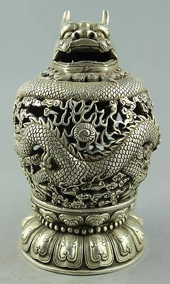 Old Handwork cupronickel carved Dragon plate Tengyun driving fog Censer