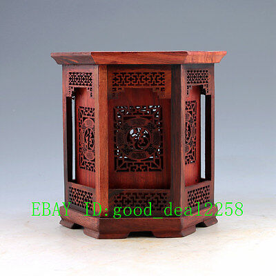 Chinese Red rosewood Hollow Handwork Carved Flower Hexagonal Shape Brush Pots