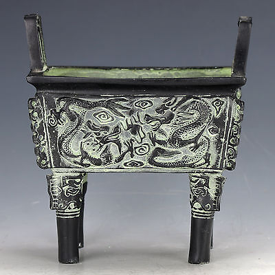 Chinese Antique Bronze Hand Carved Dragon Pattern Tripod Shaped Incense Burner