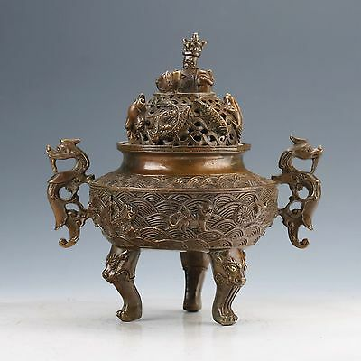 Chinese Collectable Brass Hand Carved Dragon Incense Burners W Xuande Mark