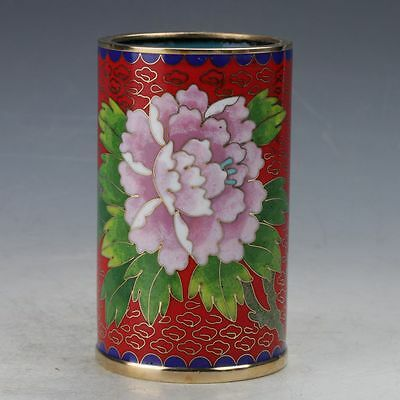 Chinese Cloisonne Hand-made Bird And Flower Brush Pots