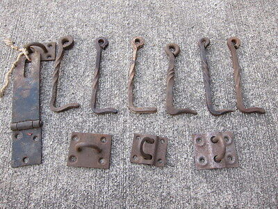 6 Vintage Antique Wrought Iron Hooks Hand Forged Twist Plus 4 Latches