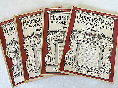 Lot of 4 1900 Harper's Bazar Magazines, Bicycle Ads, Paris Fashion, Literature