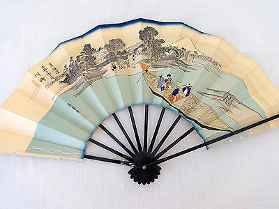 """Vintage Chinese Paper Fan Boating & Mountain Scene, Signed, 20"""", White and Blue"""
