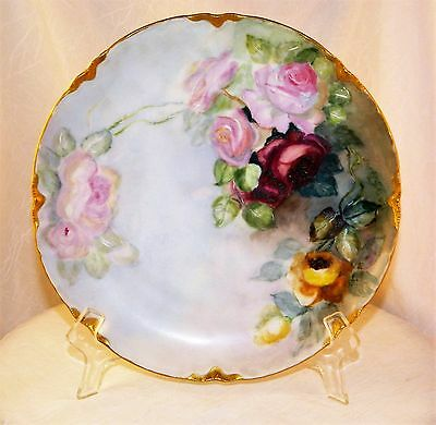 ~ HAND PAINTED Roses HAVILAND FRANCE Cabinet PLATE Signed, Green Mark  ~