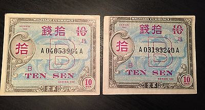 Series 100 B Occupied Japan Military Currency TEN SEN, Circulated, Lot of 2