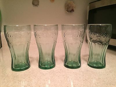 Set of 4 Coca-Cola 16 oz Vintage Drinking Glasses Tumbler Green Coke New