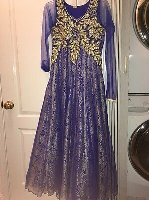 Dark Blue and Gold Pakistani Indian Formal