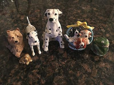 4 Porcelain Dog Figurines & Puppy Trinket Box Collection Beswick England PERFECT