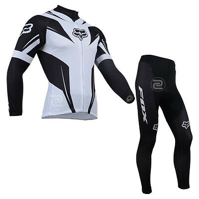 Mens Bike Team Long Outfits Cycling Jersey Pants Kits Race Shirt Pad Tights Set