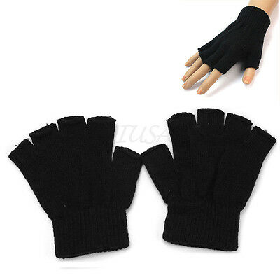 Adults Mens Half Finger Gloves Plain Thermal Knitted  Fingerless Winter Warm