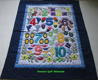 Hawaiian STYLE quilt baby crib blanket hand quilted wall hanging Numbers N. BLUE